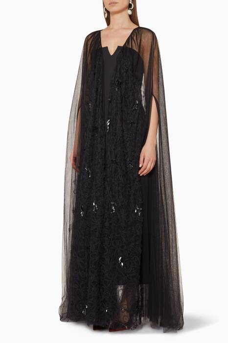 Black Floral Lace Embellished Abaya