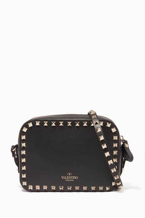 Black Camera Rockstud Crossbody Bag