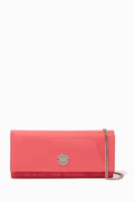 Pink Fie Patent Leather Chain Clutch