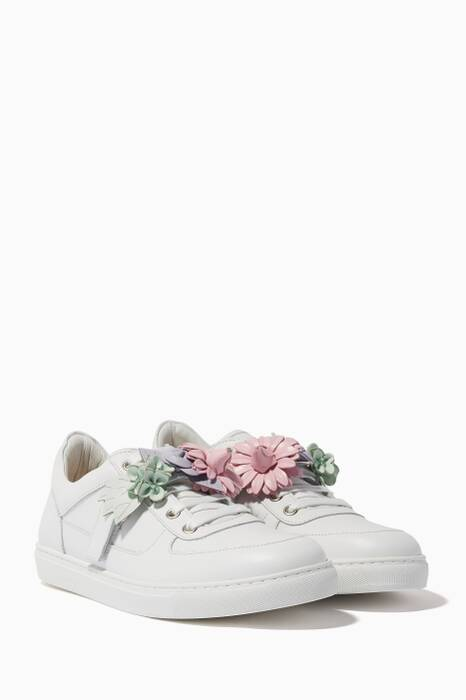 White Lilico Floral Low-Top Sneakers
