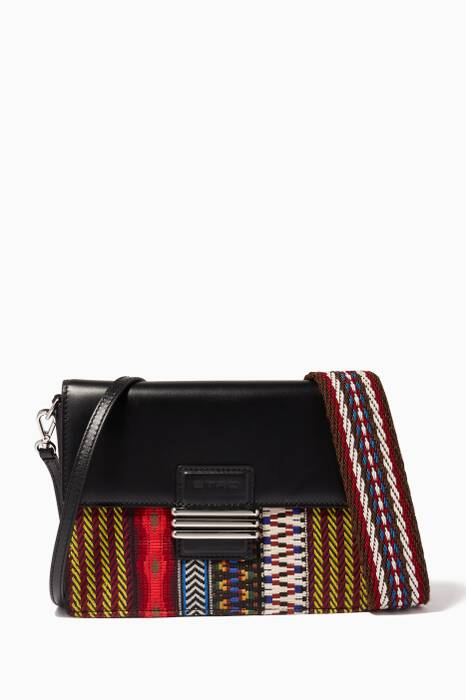 Black Embroidered Rainbow Shoulder Bag
