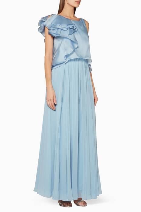 Light-Blue Ruffled Sleeve Gown
