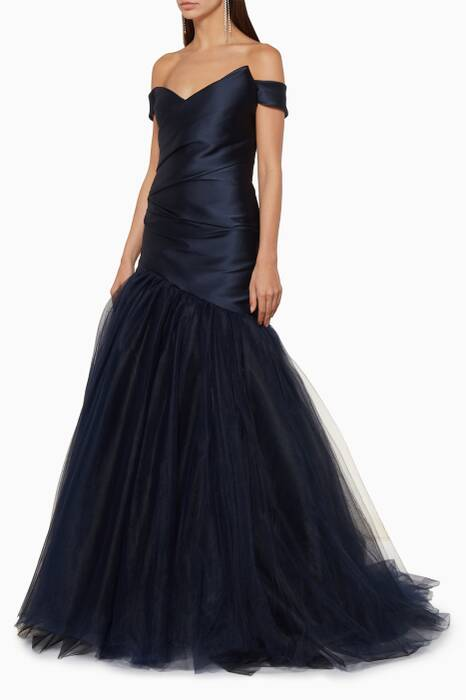 Navy Off-The-Shoulder Mermaid Gown