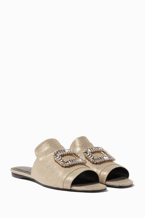 Gold Crystal-Buckle Slides