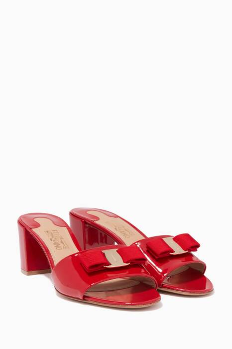 Red Eolie Patent Leather Bow Mules