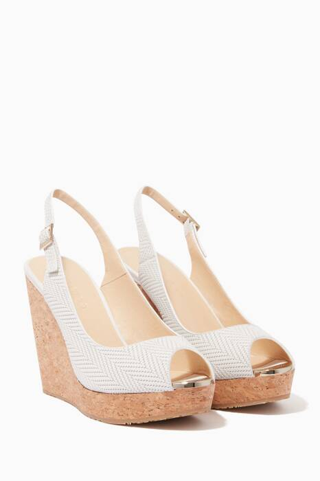 Latte-White Prova Knit Wedges