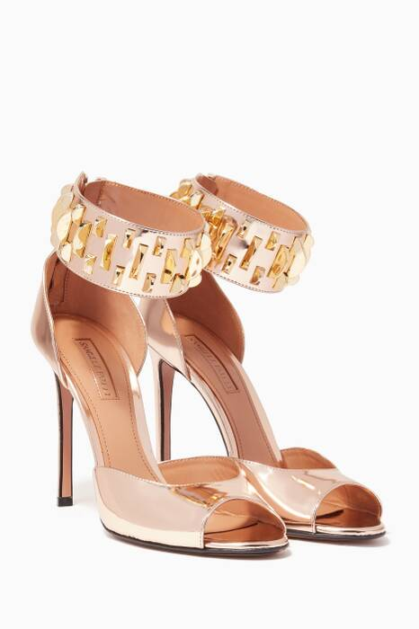 Gold Peggy Studded Leather Sandals