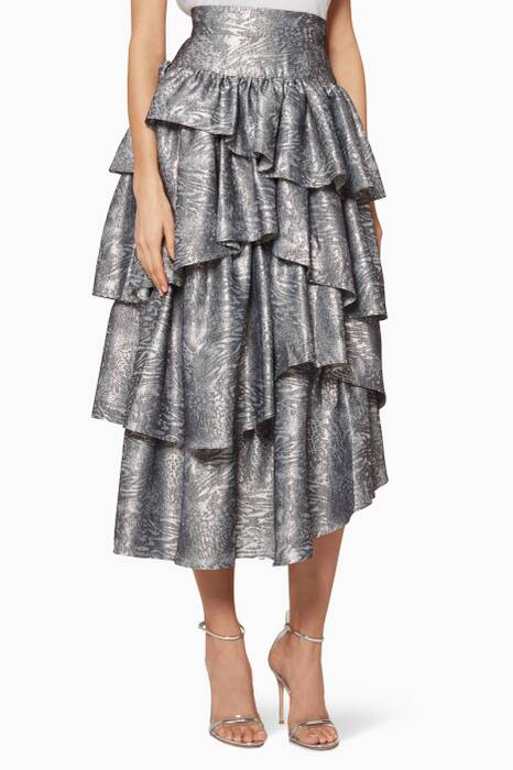 Silver Ruffled Tier Skirt