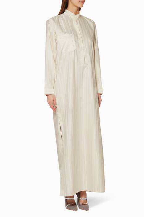 Ivory Striped Satin Kaftan