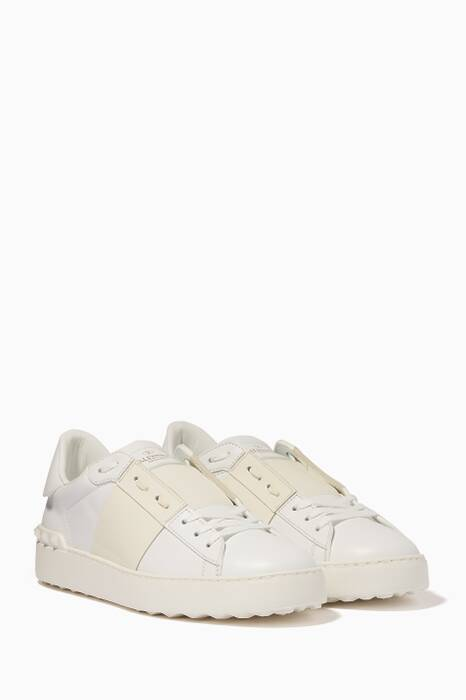 White & Off-White Patent Striped Open Sneakers