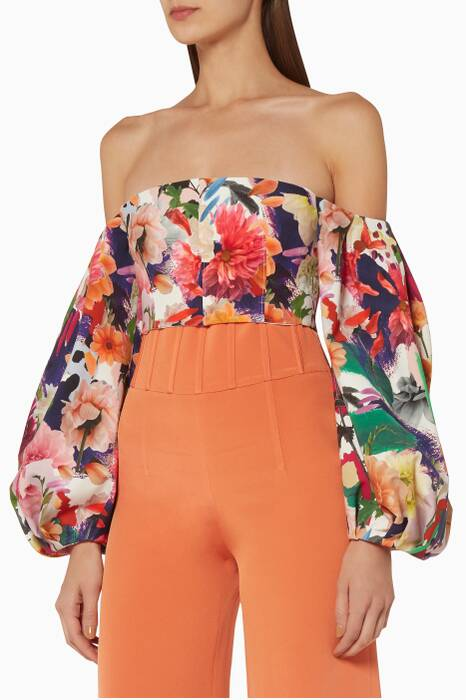 Surrealist Floral Printed Carlita Top