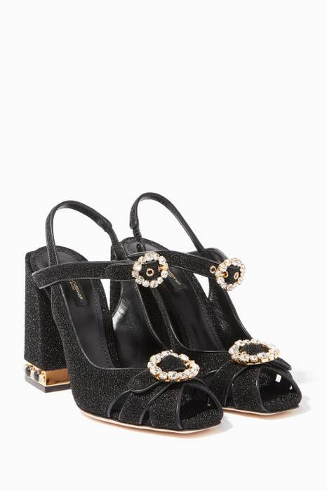 Black Jackie Lurex Sandals