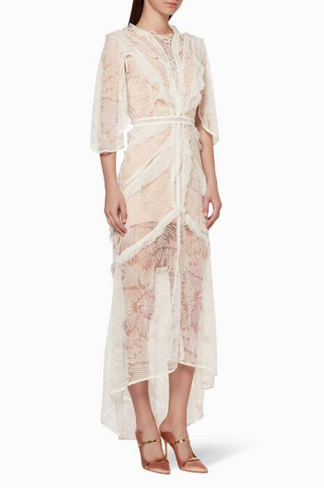 Cream Embroidered Lace Vale Dress