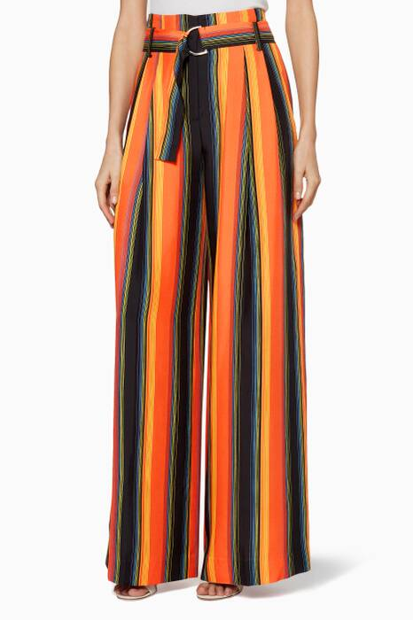 Orange Wide-Leg Belted Pants