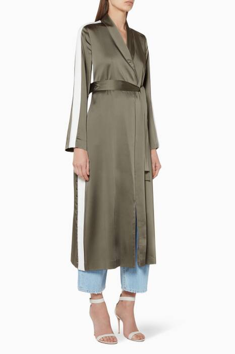 Khaki Green Side-Striped Robe