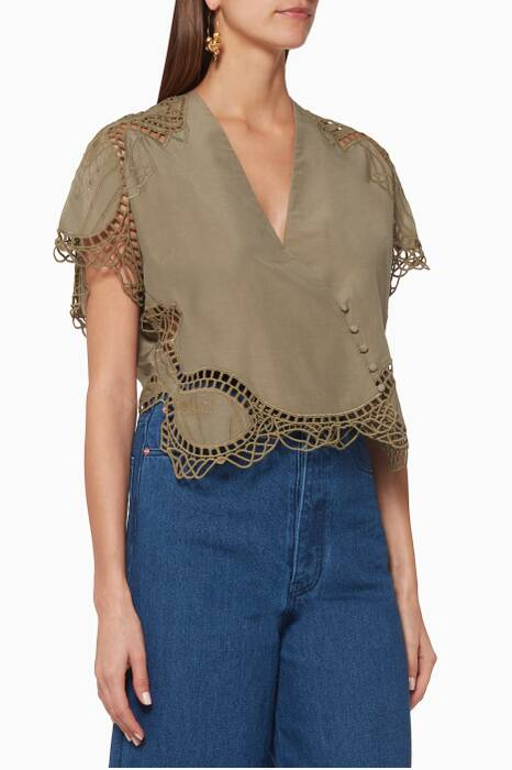 Khaki Crochet-Trimmed Wrap Top