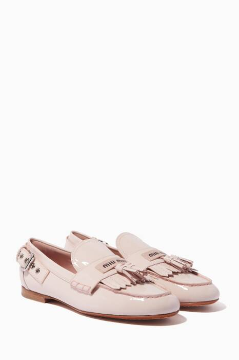 Light-Pink Patent Buckle-Detailed Loafers