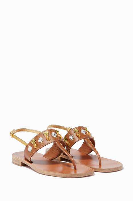 Brown Crystal-Embellished Sandals