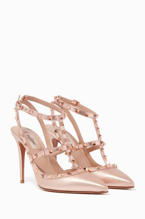 Metallic-Gold Rockstud Pumps