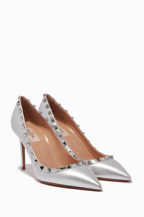Metallic Silver Leather Rockstud Pumps