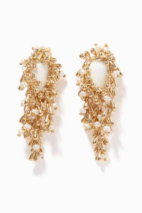 Pearl & Gold-Tone Brass Flapper Earrings