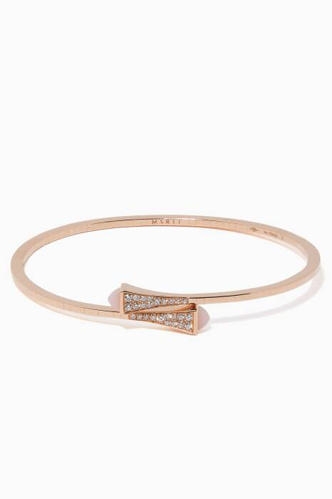 Rose-Gold, Pink Agate & Diamond & Cleo Bangle