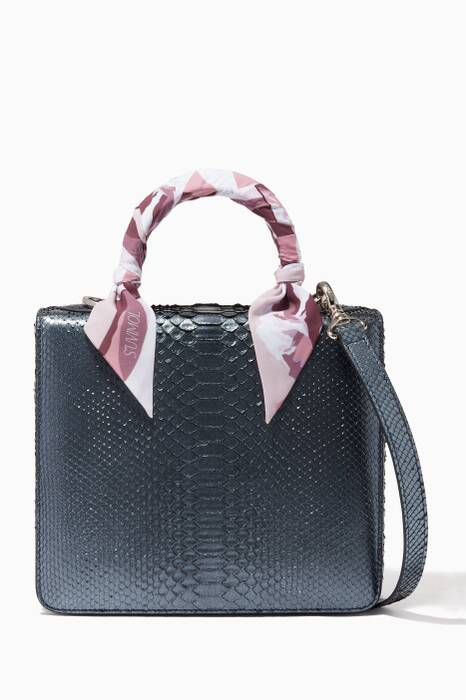 Metallic Dark-Grey Regular Square F Top Handle Bag
