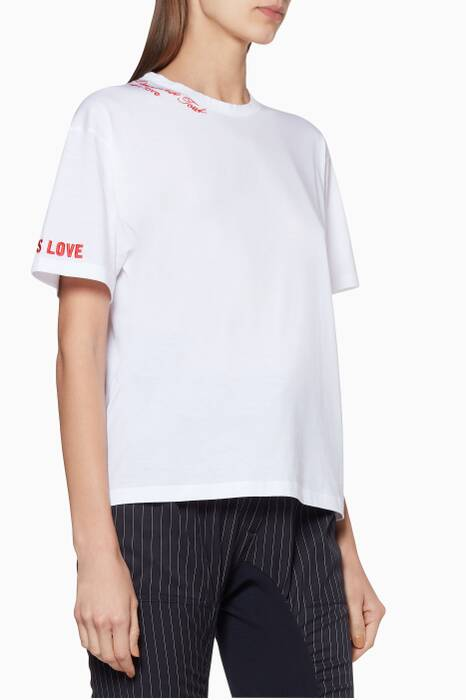 White All Is Love Embroidered T-Shirt