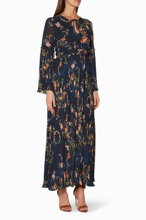 Navy Floral Printed Adele Maxi Dress