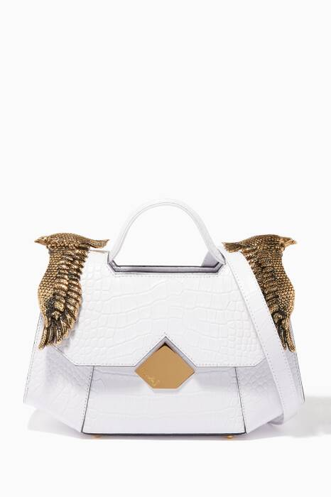 White Baby Colonel Croc-Embossed Top Handle Bag