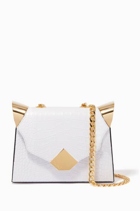 White Baby Marshall Croc-Embossed Top Handle Bag