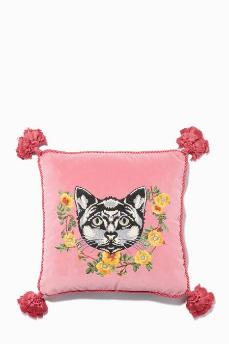 Pink Cat Embroidered Velvet Cushion
