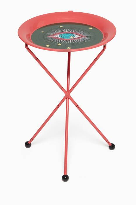 Red Star Eye Print Metal Foldable Table