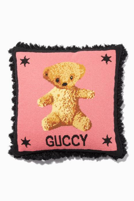 Pink Needlepoint Teddy Bear Cushion