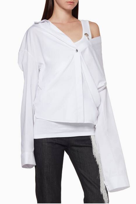 White One-Shoulder Layered Shirt