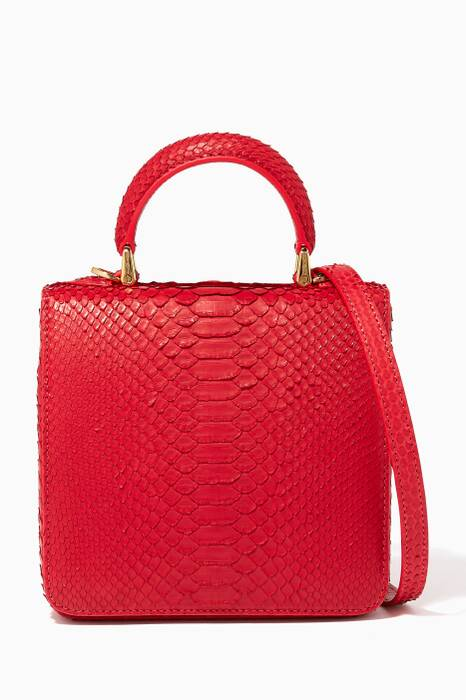 Red Python Mini Square F Bag