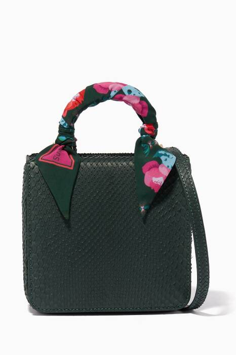 Dark-Green Python Square F Baby Top Handle Bag