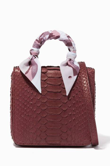 Dark-Red Python Square F Baby Top Handle Bag