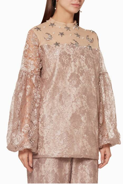 Dust-Pink Lace Embellished Dress