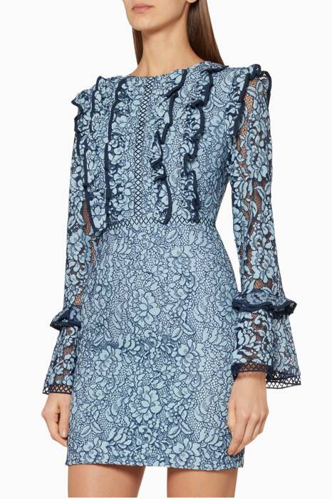 Blue Catch Me Lace Mini Dress
