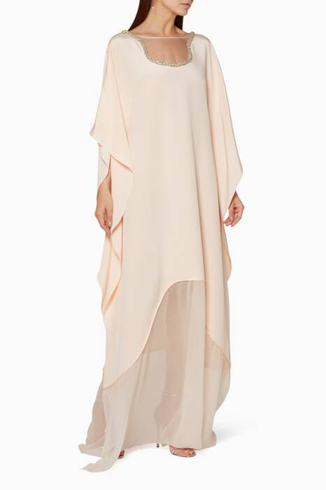 Light-Pink Embroidered Neck Kaftan