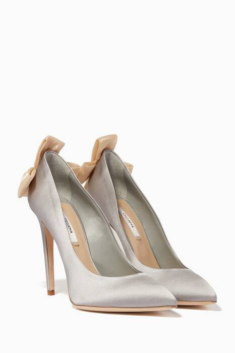 Grey Delicate Satin Bow-Detail Pumps