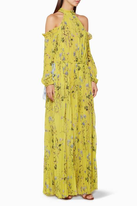 Yellow Floral Printed Cold-Shoulder Dress