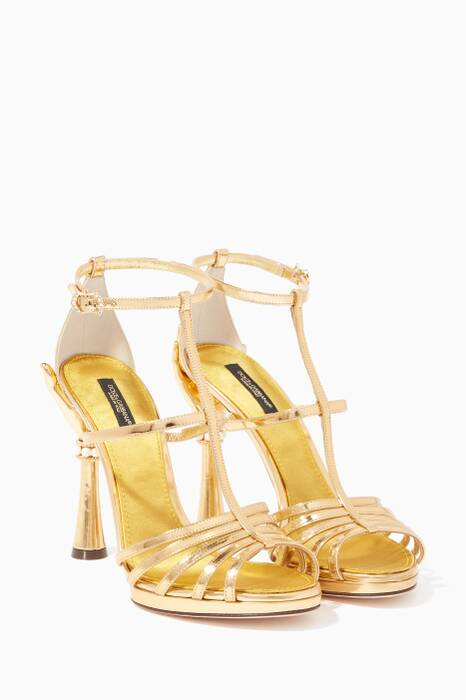 Gold Bette Patent Leather Sandals