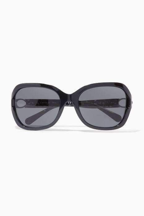 Black Signature Hardware Square-Frame Sunglasses