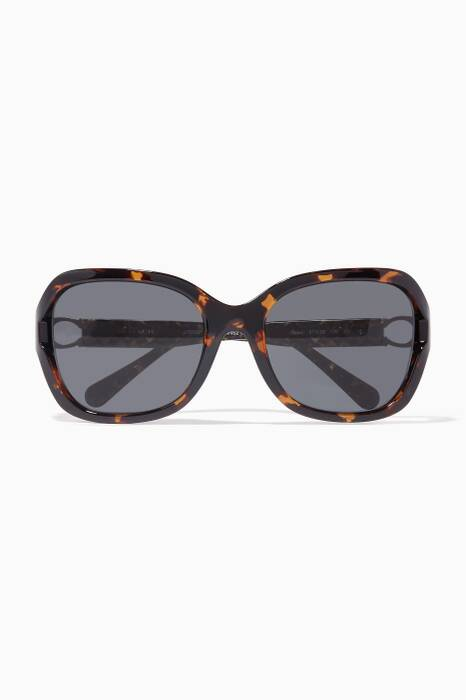 Brown Signature Hardware Square-Frame Sunglasses