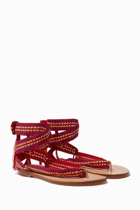 Red Spetses Embroidered Sandals
