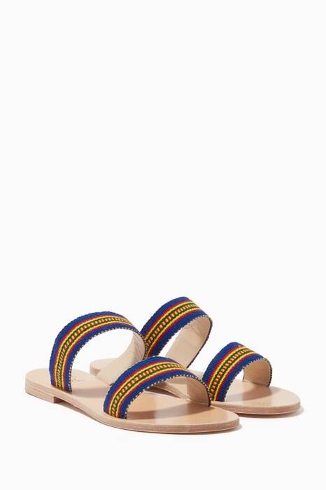 Blue & Yellow Teressa Embroidered Slides