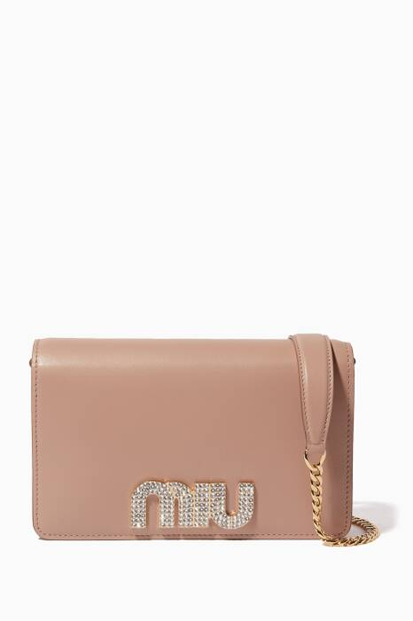 Light-Pink Lady Miu Chain Wallet