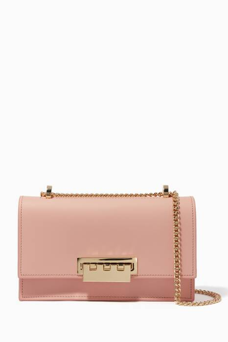 Light-Pink Earthette Accordion Chain Shoulder Bag